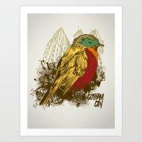robin Art Prints featuring Robin by Krikoui