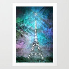Illuminated Pop Art Eiffel Tower | Graphic Style Art Print