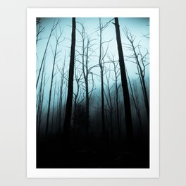 Scary Haunting Halloween Dark Forest Barren Trees Blue Background Art Print