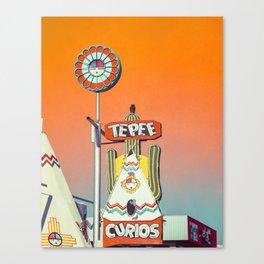 Orange TePee Neon Sign on Route 66 Canvas Print