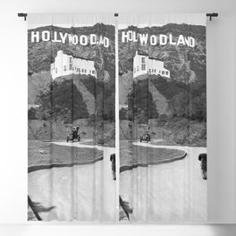 Old Hollywood sign Hollywoodland black and white photograph Blackout Curtain