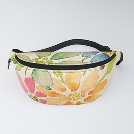 Rainbow of Flowers - Watercolor Floral Painting Fanny Pack