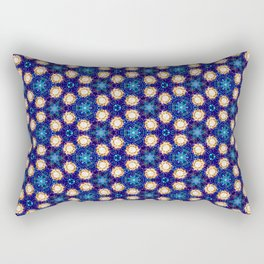 Gorgeous Blue and Gold Beaded Geometric Pattern Rectangular Pillow