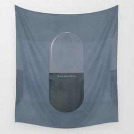 "Aldous Huxley ""Brave New World"" - Minimalist illustration literary design, bookish gift Wall Tapestry"