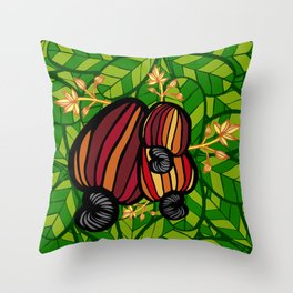 Tropical Cashew Leaves Throw Pillow