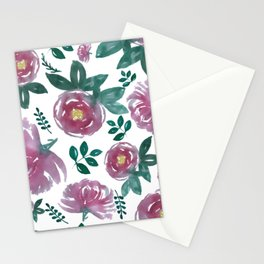 Pink floral watercolors Stationery Cards