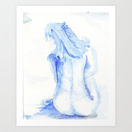 little blue nude Art Print