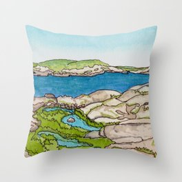 Peggy's Cove Watercolour Painting Backside Throw Pillow