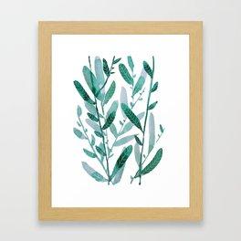 greeen water color leaves Framed Art Print