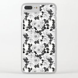 Wite roses watercolor pattern Clear iPhone Case