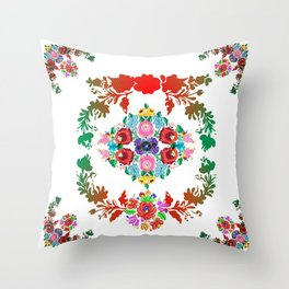 Hungarian 'matyo' folklore styled artwork Throw Pillow