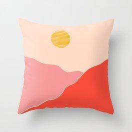 Desert Sunset and Mars Mountains Throw Pillow