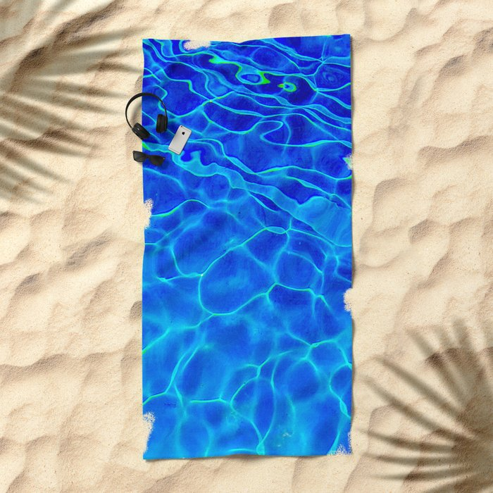 Blue Water Abstract Beach Towel