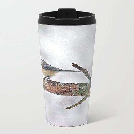 Chickadee Versus Winter Storm Stella Metal Travel Mug