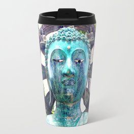 """Peace"" Quote Asian Turquoise Blue Buddha Statue Travel Mug"