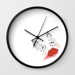 Red Lipped Face Wall Clock