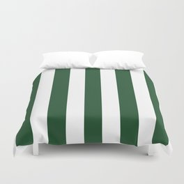 Cal Poly Pomona green - solid color - white vertical lines pattern Duvet Cover