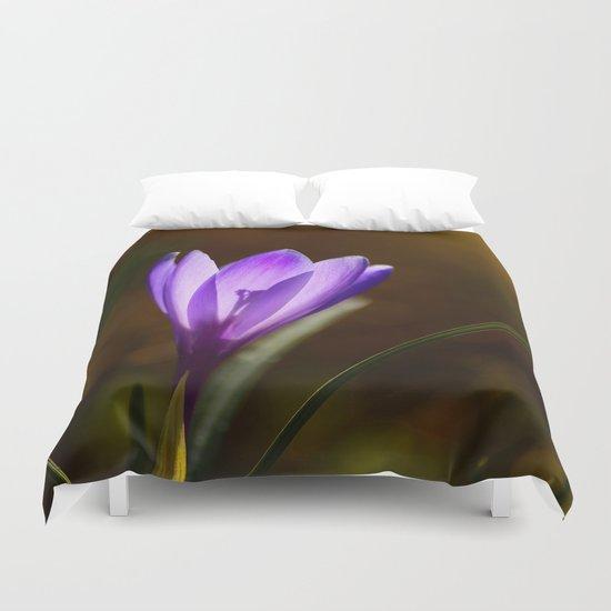Bright Purple Spring Crocus Duvet Cover