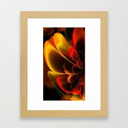 Stylized Half Flower Red Framed Art Print