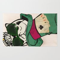 poker Area & Throw Rugs featuring Poker Face by Ewan Arnolda
