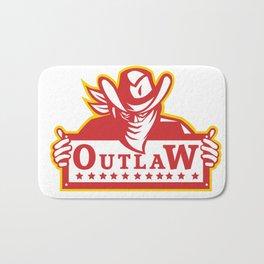 Outlaw Holding Sign Retro Bath Mat