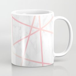 Modern white marble and pink rose gold geometric pattern Coffee Mug