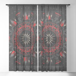 Buffalo Skull and Feathers (Red) Sheer Curtain