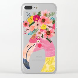 Pink flamingo with flowers on head Clear iPhone Case