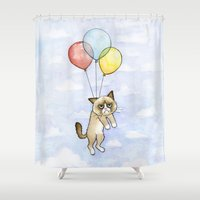 meme Shower Curtains featuring Cat With Balloons Grumpy Birthday Meme by Olechka