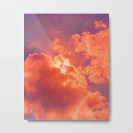 Orange Clouds in Purple Sky Metal Print
