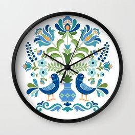 Hungarian Folk Design Blue Birds Wall Clock