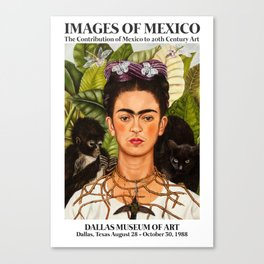 """Frida Kahlo Exhibition Art Poster - """"Self-Portrait with Thorn Necklace and Hummingbird"""" 1988 Canvas Print"""