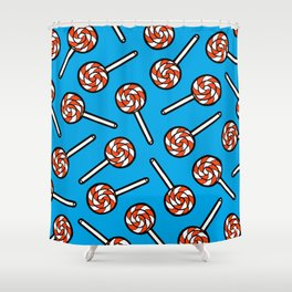Red, white & blue lollipops pattern Shower Curtain