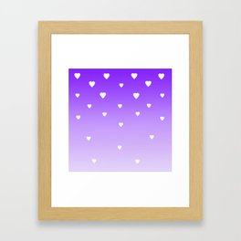 Purple Ombre with White Hearts Framed Art Print