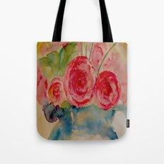 Flowers in a blue vase Tote Bag