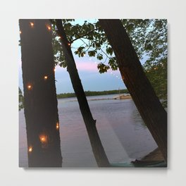 String Lights at Sunset on Lake Pemaquid in Damariscotta, Maine (1) Metal Print