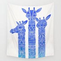 giraffes Wall Tapestries featuring Giraffes – Blue Ombré by Cat Coquillette