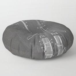 Ice Hockey Stick Patent - Ice Hockey Art - Black Chalkboard Floor Pillow