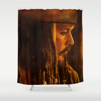 jack sparrow Shower Curtains featuring Captain Jack Sparrow by Rosita Maria