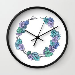 Succulent Wreath Wall Clock