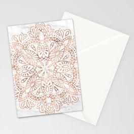 Rose Gold Mandala on Marble Stationery Cards