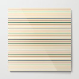 Blue Pink Green Tan White Stripes on Ecru Metal Print