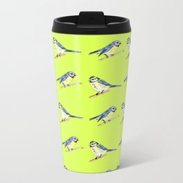 Blue Tits on Lime Metal Travel Mug