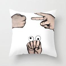 Rock, Scissors, Hanz Throw Pillow