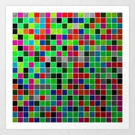 Metallic Colour Grid Art Print