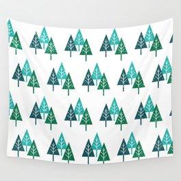 Three Christmas Trees Wall Tapestry