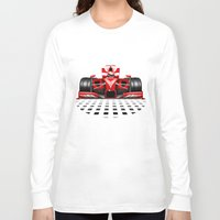 formula 1 Long Sleeve T-shirts featuring Formula 1 Red Race Car by BluedarkArt