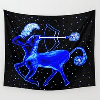 sagittarius Wall Tapestries featuring Sagittarius Colt by Christa Bethune Smith