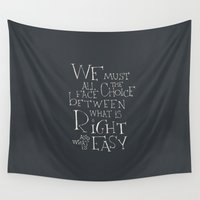 """dumbledore Wall Tapestries featuring Harry Potter - Albus Dumbledore quote """"We must all face the choice..."""" by SimpleSerene"""