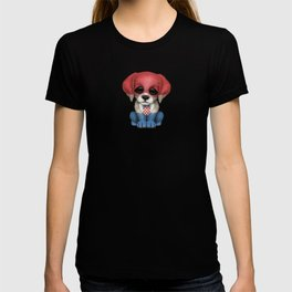 Cute Puppy Dog with flag of Croatia T-shirt